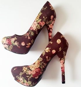 Floral Cloth Stilettos